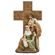 HOLY FAMILY WITH ORNATE CROSS