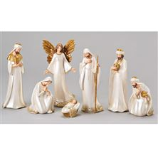 IVORY AND GOLD 7-PIECE NATIVITY SET
