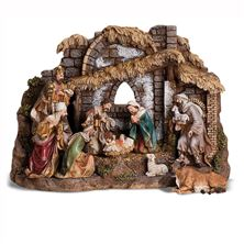 10-PIECE NATIVITY WITH STABLE