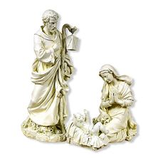 WHITE OUTDOOR NATIVITY - 3-PIECE HOLY FAMILY-LARGE
