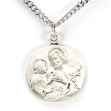 ST. JOSEPH AND CHILD JESUS STERLING SILVER MEDAL