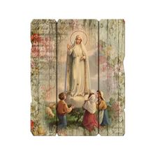 OUR LADY OF FATIMA VINTAGE WOOD PLAQUE - 9""
