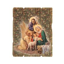 "HOLY FAMILY VINTAGE WOOD PLAQUE 7½"" x 9"""