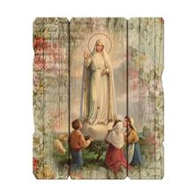 OUR LADY OF FATIMA VINTAGE WOOD PLAQUE (LARGE)