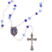 MULTI BLUE CRYSTAL ROSARY WITH ENAMELED CENTER
