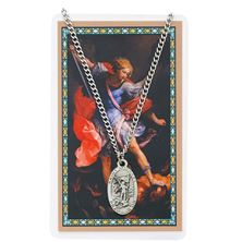 ST. MICHAEL PEWTER MEDAL AND PRAYER CARD