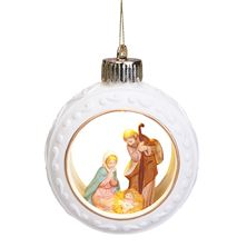 LIGHTED HOLY FAMILY PORCELAIN ORNAMENT
