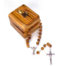 OLIVE WOOD FIRST COMMUNION ROSARY AND BOX