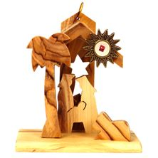 OLIVE WOOD NATIVITY ORNAMENT WITH RELIC