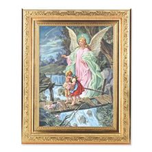 "GUARDIAN ANGEL PRINT IN GOLD WOOD FRAME - 8 1/4"" X 10 1/4"""