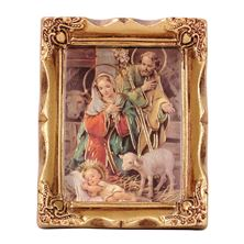 "HOLY FAMILY NATIVITY  GOLD FRAME - 2"" x 3"""