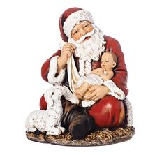 SITTING SANTA WITH BABY JESUS STATUE