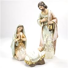 THREE PIECE WOOD-LOOK NATIVITY