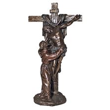 CHRIST WITH ST. FRANCIS COLD CAST BRONZE STATUE