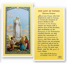 LAMINATED HOLY CARD OUR LADY OF FATIMA