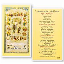 LAMINATED HOLY CARD - MYSTERIES OF THE ROSARY