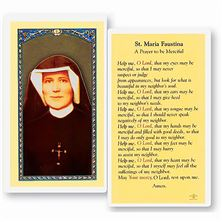 LAMINATED HOLY CARD - ST. MARIA FAUSTINA