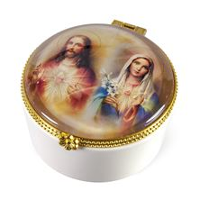 SACRED AND IMMACULATE HEARTS PORCELAIN ROSARY BOX