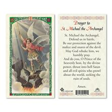 LAMINATED HOLY CARD SAINT MICHAEL THE ARCHANGEL