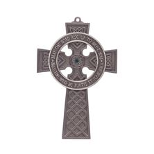 PEWTER CELTIC CROSS WITH GREEN CRYSTAL