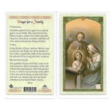 LAMINATED HOLY CARD - PRAYER FOR A FAMILY