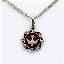 RED ENAMEL HOLY SPIRIT MEDAL