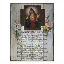 SACRED HEART OF JESUS HOUSE BLESSING WOOD PLAQUE