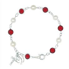 RED AND PEARL HOLY SPIRIT ROSARY BRACELET