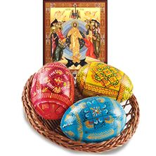 UKRAINIAN EASTER BASKET WITH RESURRECTION ICON