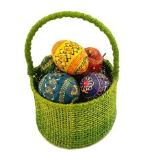 GREEN EASTER BASKET WITH 5 SMALL HAND PAINTED EGGS