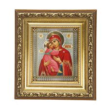 VIRGIN OF VLADIMIR - SMALL FRAME WITH CRYSTALS