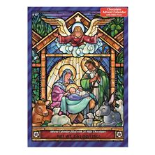 STAINED GLASS NATIVITY ADVENT CALENDAR WITH CHOCOLATES