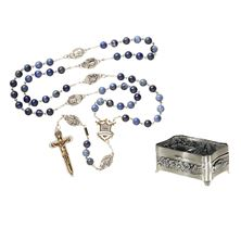 EWTN WARRIOR'S ROSARY and PEWTER ROSARY BOX SET