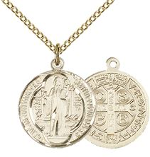 "14KT GOLD FILLED ST BENEDICT PENDANT WITH CHAIN - 5/8"" x 5/8"""
