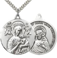 "STERLING SILVER OUR LADY OF PERPETUAL HELP PENDANT WITH CHAIN - 1 3/8"" x 1 1/4"""