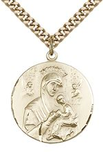 "14KT GOLD FILLED OUR LADY OF PERPETUAL HELP PENDANT WITH CHAIN - 7/8"" x 3/4"""