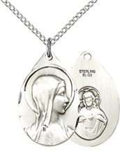 "STERLING SILVER SORROWFUL MOTHER PENDANT WITH CHAIN - 7/8"" x 1/2"""