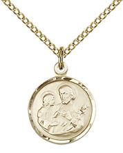 "14KT GOLD FILLED ST JOSEPH PENDANT WITH CHAIN - 5/8"" x 1/2"""