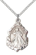 Sterling Silver Divine Mercy Pendant with chain