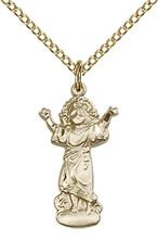 "14KT GOLD FILLED DIVINO NINO PENDANT WITH CHAIN - 3/4"" x 3/8"""