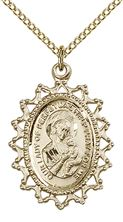 "14KT GOLD FILLED OUR LADY OF PERPETUAL HELP PENDANT WITH CHAIN - 1"" x 3/4"""