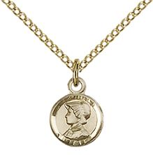 "14KT GOLD FILLED ST ELIZABETH ANN SETON PENDANT WITH CHAIN - 3/8"" x 1/4"""