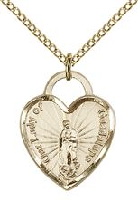14kt Gold Filled Our Lady of Guadalupe Heart Recuerdo Pendant with chain