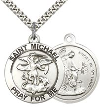 "STERLING SILVER ST MICHAEL THE ARCHANGEL PENDANT WITH CHAIN - 1"" x 7/8"""