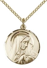 "14KT GOLD FILLED SORROWFUL MOTHER PENDANT WITH CHAIN - 3/4"" x 5/8"""