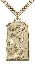 "14KT GOLD FILLED ST MICHAEL THE ARCHANGEL PENDANT WITH CHAIN - 1 1/8"" x 5/8"""