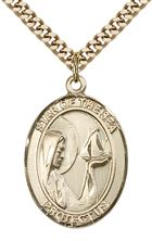 "14KT GOLD FILLED OUR LADY STAR OF THE SEA PENDANT WITH CHAIN - 1"" x 3/4"""