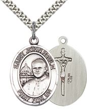 "STERLING SILVER ST JOHN PAUL II PENDANT WITH CHAIN - 1"" x 3/4"""