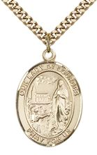 "14KT GOLD FILLED OUR LADY OF LOURDES PENDANT WITH CHAIN - 1"" x 3/4"""