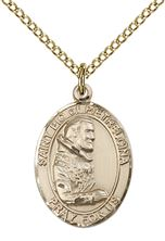 "14KT GOLD FILLED ST PIO OF PIETRELCINA PENDANT WITH CHAIN - 3/4"" x 1/2"""